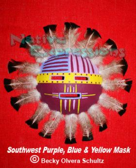 Southwest Purple Blue Yellow Mask-©Becky Olvera Schultz