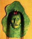 My Ancestor, Clay Mixed Media Mask-©Becky Olvera Schultz