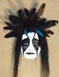 Powwow Dancer, Clay/Mixed Media Mask-©Becky Olvera Schultz