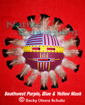 Southwest Purple Blue Yellow Mask-©Becky Olvera Schultz